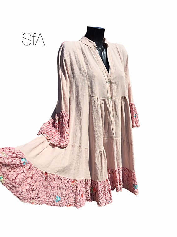 Lagenlook, Cotton and lace smock tunic or dress. With embroidered flowers. Size 12, 14, 16, 18. Size 2XXL