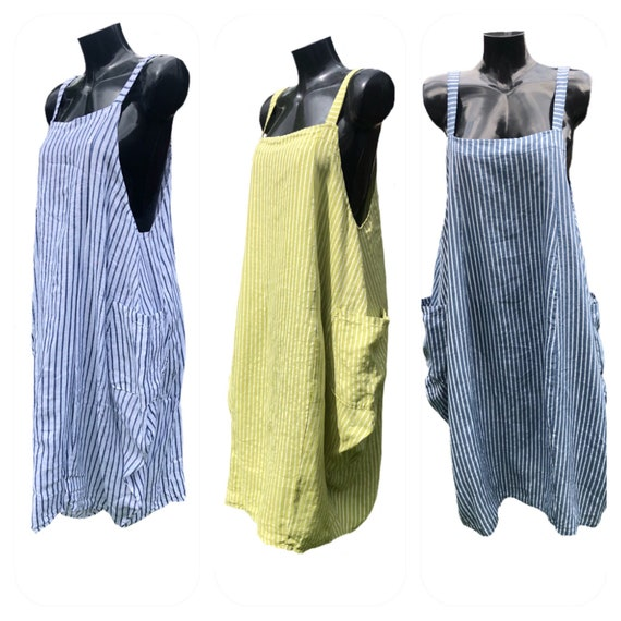 Lagenlook linen stripped pinafore dress with balloon sides and pockets, adjustable straps.