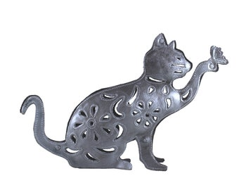 cat with butterfly, cat, standing cat, cat art, cat sculpture, small cat art, metal cat, cat decor, fair trade decor, recycled metal cat