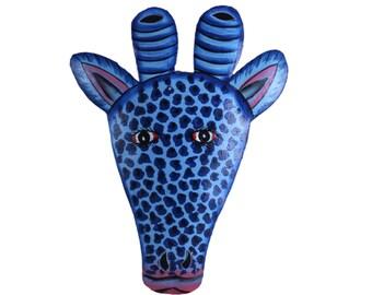 blue giraffe head, folk art, painted metal art, naive painting, metal art, painted metal art, fair trade art, recycled art, giraffe head
