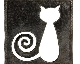 retro cat art, Haitian metal art, recycled metal art, oil drum, recycled oil drum, metal decor, recycled decor, outdoor art, steel drum art