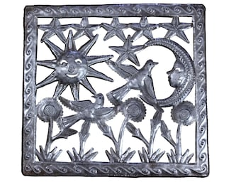 sun, moon, stars, flowers, bird, outdoor scene, outdoor art, recycled art, fair trade art, metal art, recycled art, recycled oil drum art