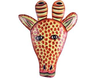 yellow giraffe head, folk art, painted metal art, naive painting, metal art, painted metal art, fair trade art, recycled art, animal head