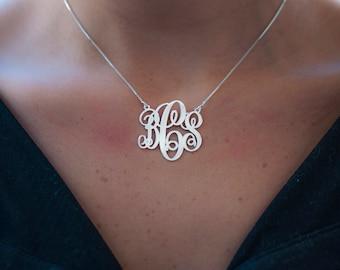 monogram necklace sterling silver