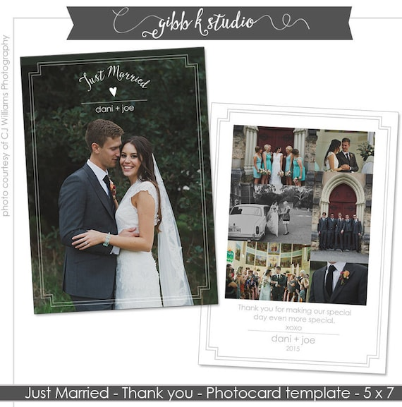 Wedding Thank You Postcard Template Cards Photo Just Married Digital Printable