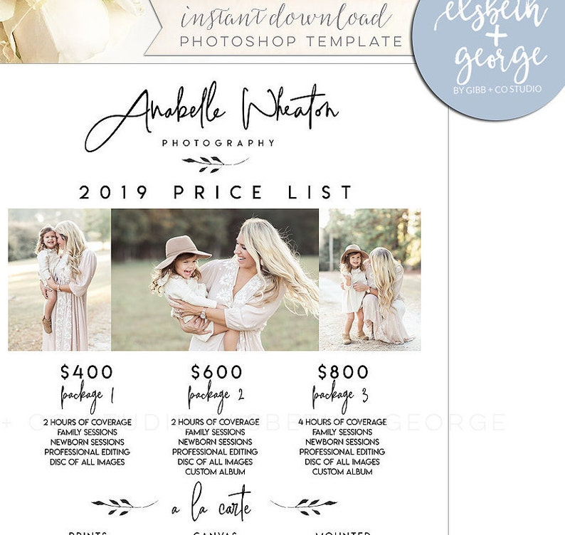 marketing template letter size Elsbeth George EG012 Photographer price list template Photoshop required pricing guide branding