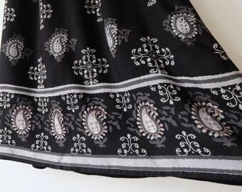 Paisley Mid Length Skirt Vintage Black
