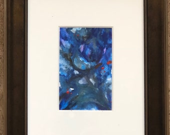 Abstract 4 x 6 Matted Original Watercolor Fine Art - Collectible - Blue - Purple - Colorful