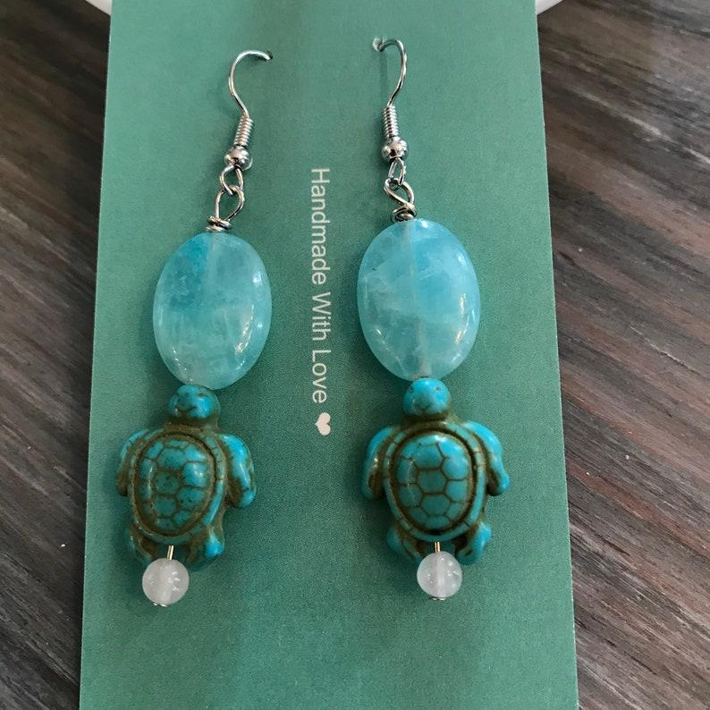 Stunning aquamarine turtle drop earrings