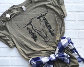 e267bad2b98a5 Boho bull shirt, Boho shirt, arrows, bohemian shirt, outdoors shirt, womens  shirt, tribal shirt, huntress shirt, bowhunter, feathers