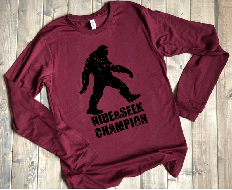 12999603b Hide and Seek Champion shirt Sasquatch bigfoot yeti long | Etsy