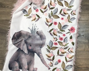 Baby Lovey Stuffed Plush Security Blanket for Girls Cute Pink Elephant Best gift