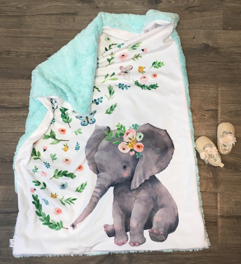 Nursery Time Baby Boys and Girls Animal Snuggle Comforter Blanket Various Designs Blue Elephant