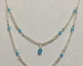 Silver Double strand Necklace with Swarovski Crystal-Made in USA