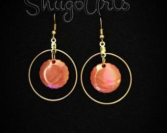 Mirror orange gold earrings