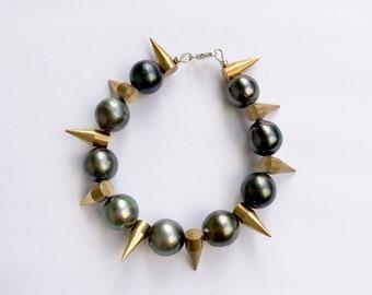 Tahitian Pearl Bracelet - Sterling Silver Clasp & Brass Spike Bracelet