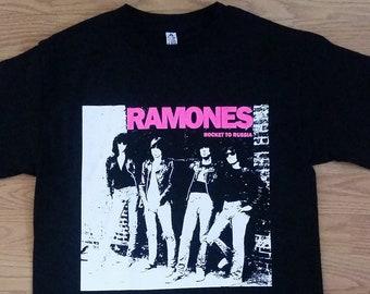 f210ba9896e RAMONES† - Rocket To Russia - Pink Letters - Black- Unisex Adult Tshirt -  S- 2XL