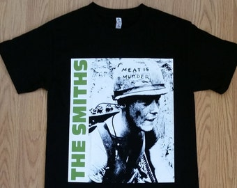 6ab9ce45 THE SMITHS † - Green Letters - Meat Is Murder Soldier Logo - Black - Unisex  Adult Tshirt - S- 3XL