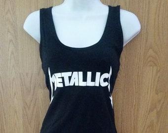 55ee33cf115e4 METALLICA† - White Logo Print-Black- WOMEN S Tank Top shirt - S - xL