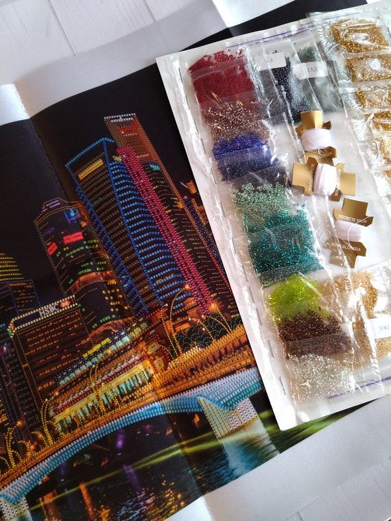 BIG picture DIY Bead Embroidery Kit Needlepoint Beading  beadwork NIGHT City printed pattern cityscape embroidery city embroidery