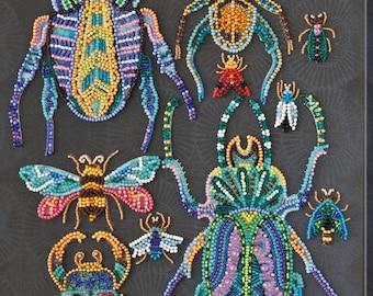 Bead embroidery kit Beetles beaded cross stitch, needlework kit, hand embroidery, embroidery pattern, Beadwork gift beading pattern Abris12