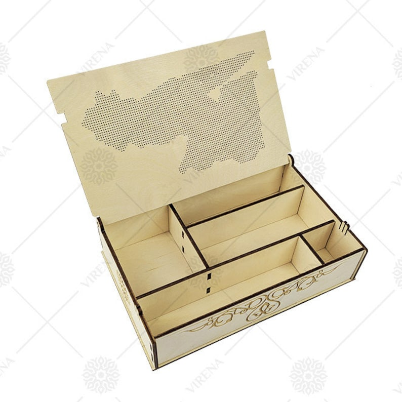 Wood stash Box Handmade wooden jewelry box with bead embroidery Laser cutting Jewelry box for women DIY kit for jewelry box with embroidery
