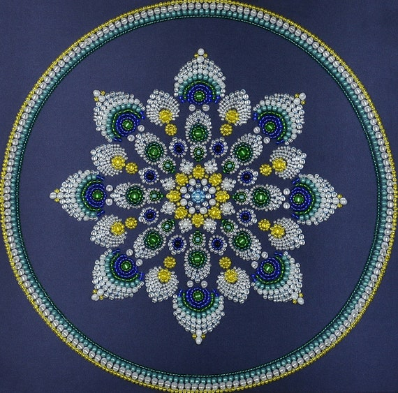 Bead embroidery kit Mandala Easy breath embroidery pattern needlepoint kit beading pattern rainbow mandala Abris beaded mandala wall art