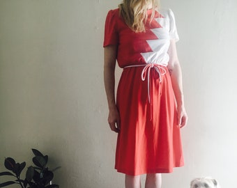Red & white vintage dress