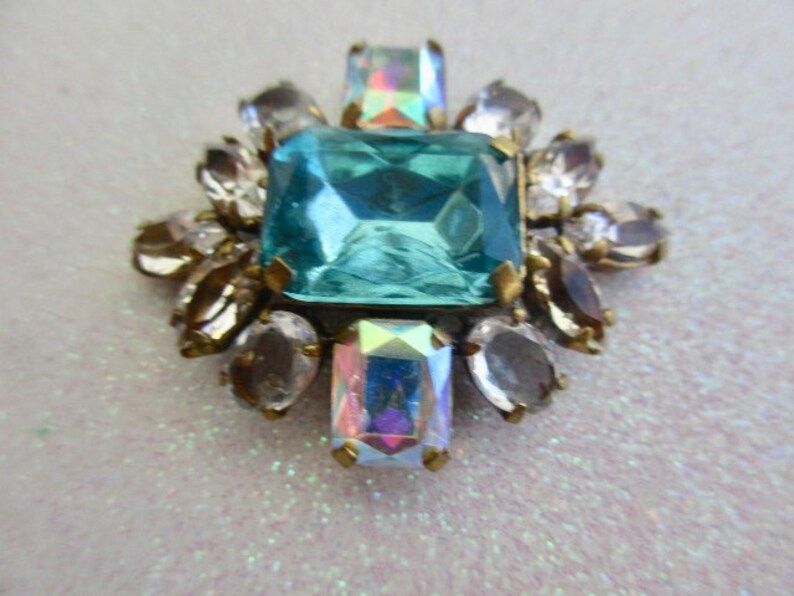 Czech Handmade Vintage Style Glass Rhinestones Gorgeous Turquoise Crystal Aurora   Make beautiful things with this Button Buy Now!