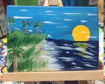 Sunset on the Beach Acrylic Painting
