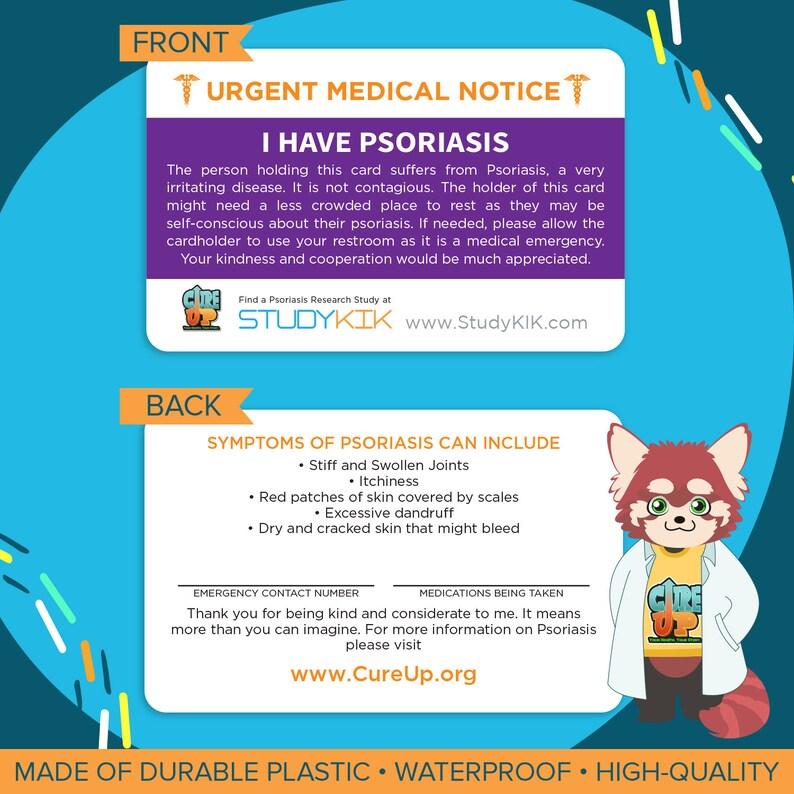 Psoriasis Card Psoriasis Emergency Card Psoriasis Medical image 0
