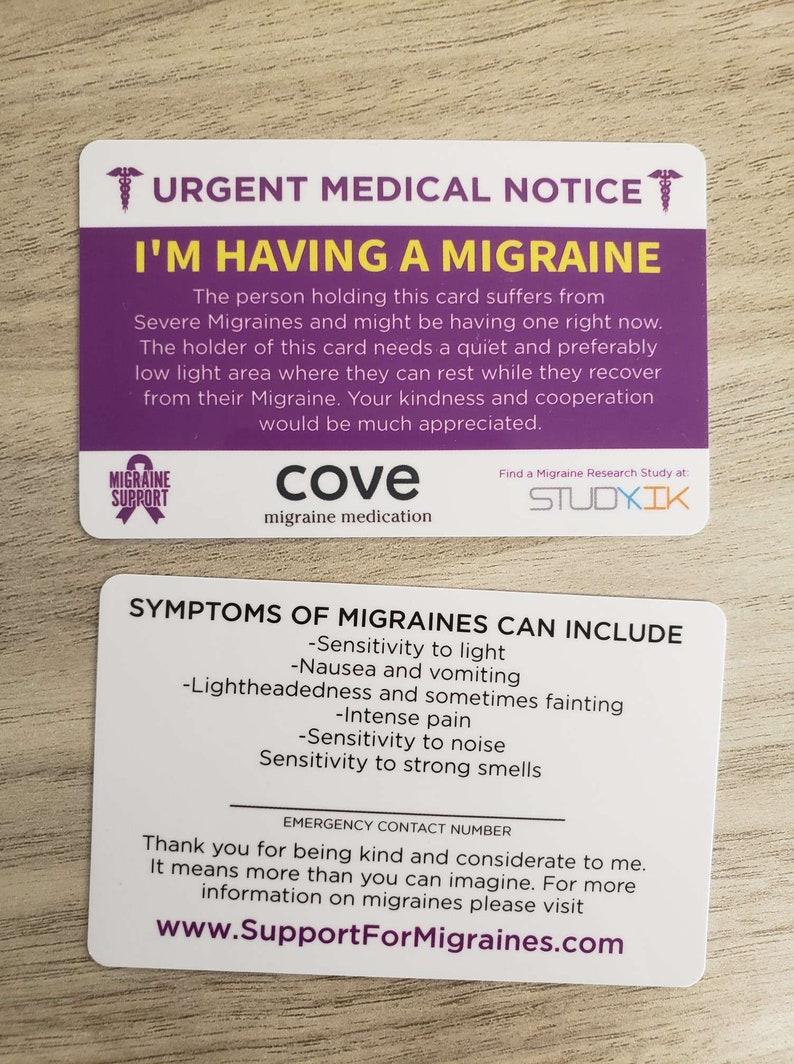 Migraine Card Migraine Emergency Card Migraine Medical Card image 0