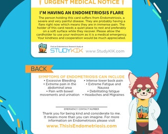 Endometriosis Card, Endo Card, Endometriosis Emergency Card, Endometriosis Medical Card, Endometriosis Alert Card