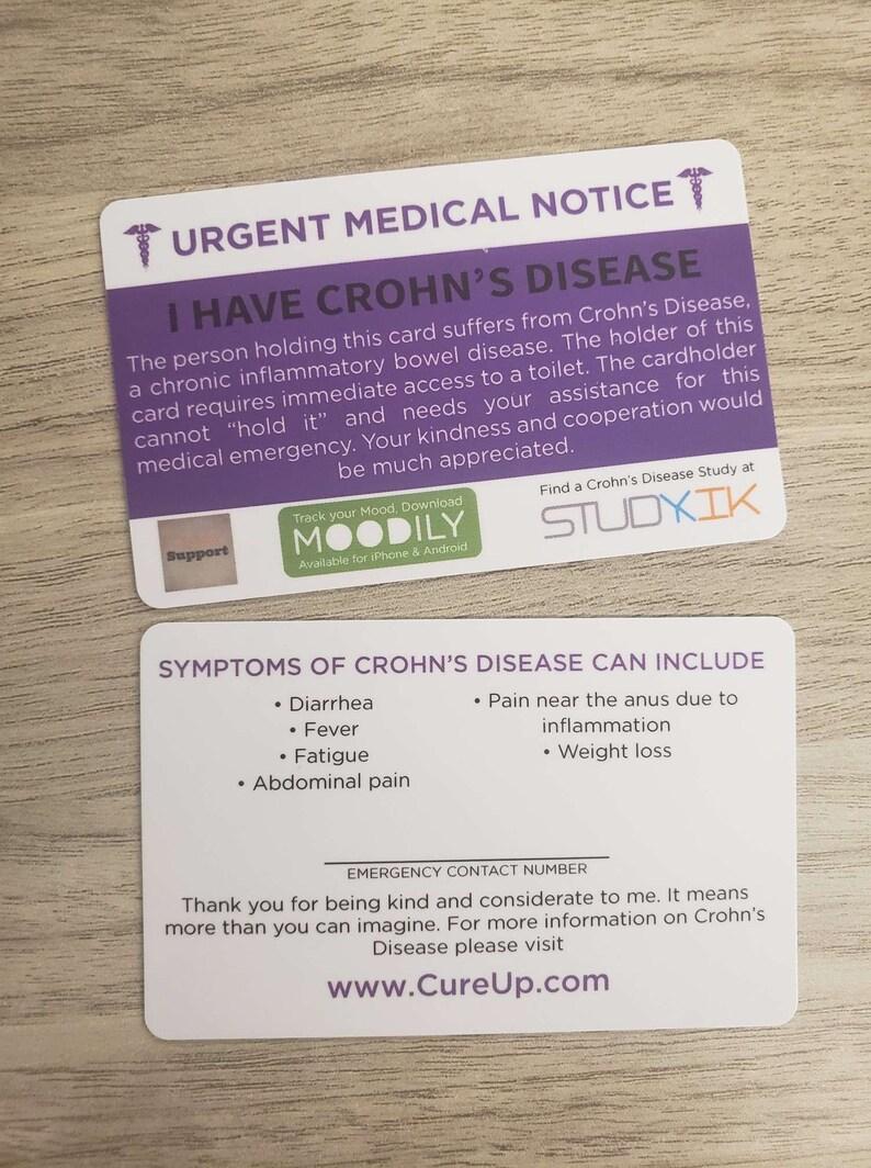 Crohn's Disease Card Crohn's Disease Emergency Card image 0