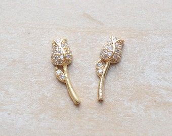 Magnetic Faerie Clear Zircon Gold Tone Metal Earrings by BIODEMIA