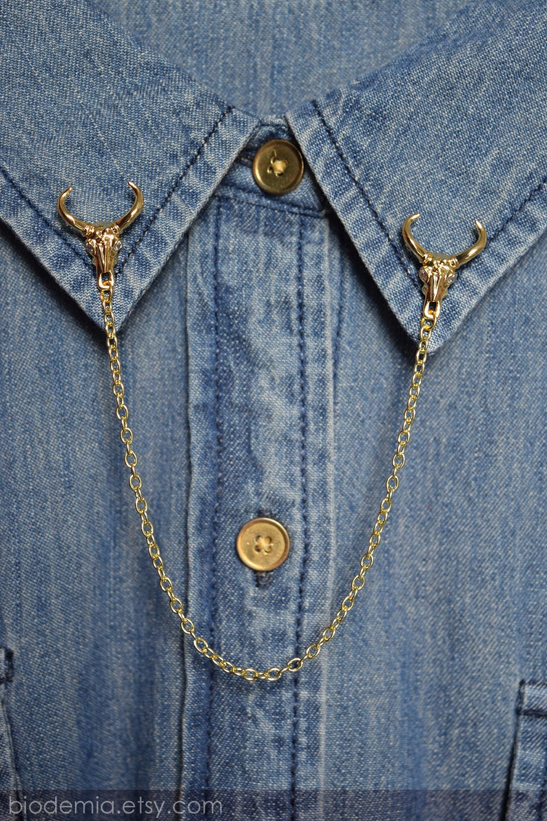 Damage Free Magnetic Gold Tone Ox Head /& Chain Modern Statement Brooch Pin by BIODEMIA