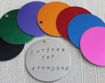 """1.5"""" Anodized Aluminum Blanks - 10; Aluminum Stamping Blanks - Discount Jewelry Supplies - Chainmail Jewelry Supplies"""