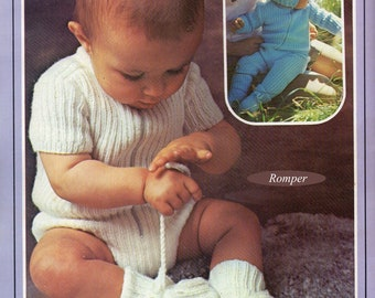 Baby Boy Knitting Pattern, Baby Romper Knitting Pattern with Hat, Booties, Snowsuit, Ribbed Knit Pattern INSTANT Download Pattern PDF (2303)