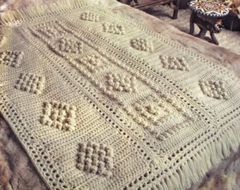 Afghan Crochet Pattern, Bulky Popcorn Crochet Afghan Pattern, Bridal Shower Gift idea, INSTANT Download Pattern PDF (1001)