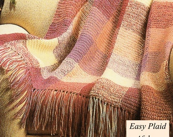 Afghan Crochet Pattern, Crochet Plaid Afghan Pattern, Crochet Blanket Pattern, INSTANT Download Pattern PDF (1027)