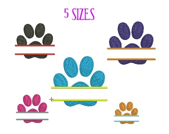 0644b4774e33 Split Paw Print Embroidery design Dog Paw print Machine Embroidery Design  Animal Paw print Pattern INSTANT DOWNLOAD 4x4