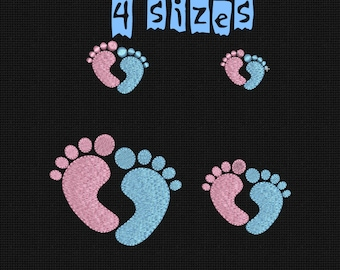 Machine Embroidery Design foot print Baby Foot Solid Fill Baby INSTANT DOWNLOAD 4 sizes 4x4