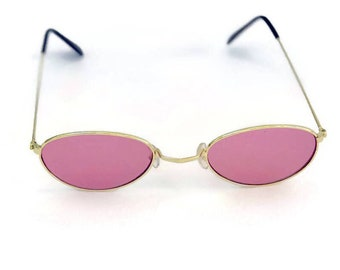 89e062f6ec 90 s Sunglasses Oval Round Pink Lens Gold Wire Metal Vintage Sunglasses Pink