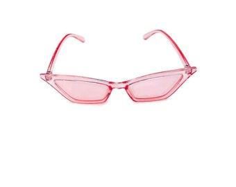 acab9ed29d6 90 s sunglasses Pink slim cat eye retro sunglasses Small square Cat Eye  Sunglasses