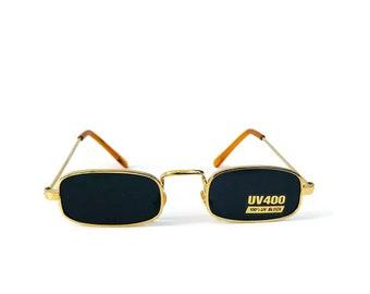 d3a71962e0c 90 s Vintage Sunglasses Small Petite Square Gold Wire Metal Frame  Rectangular Sunglasses