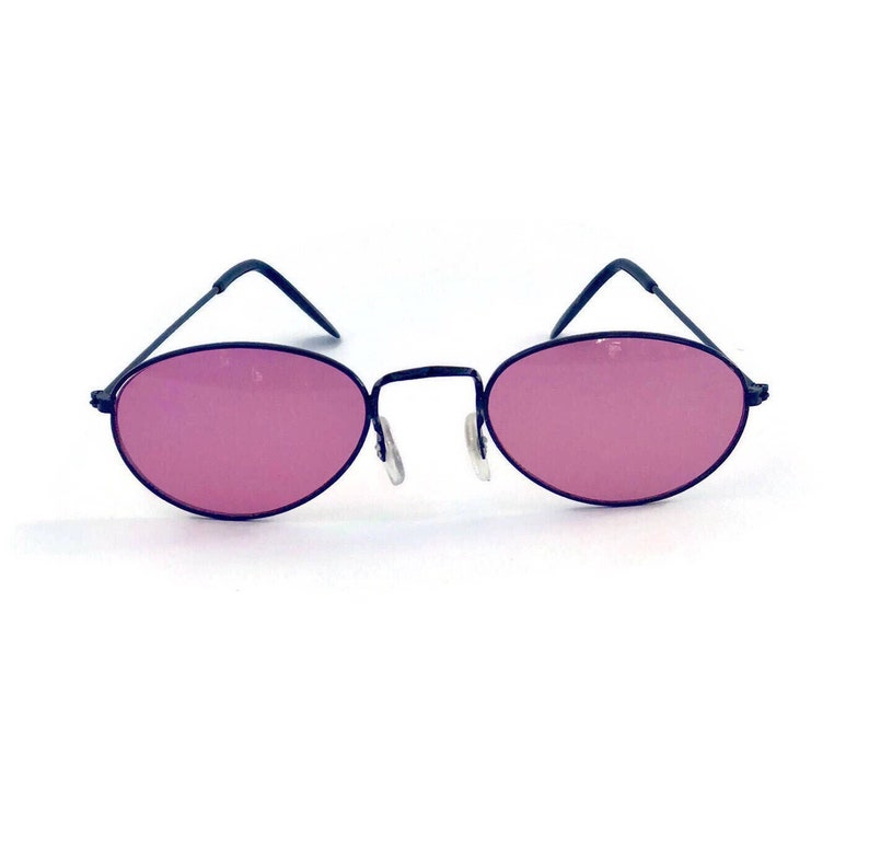 f52b39f710 90s Small Oval Round Pink Lens Metal Vintage Sunglasses Pink