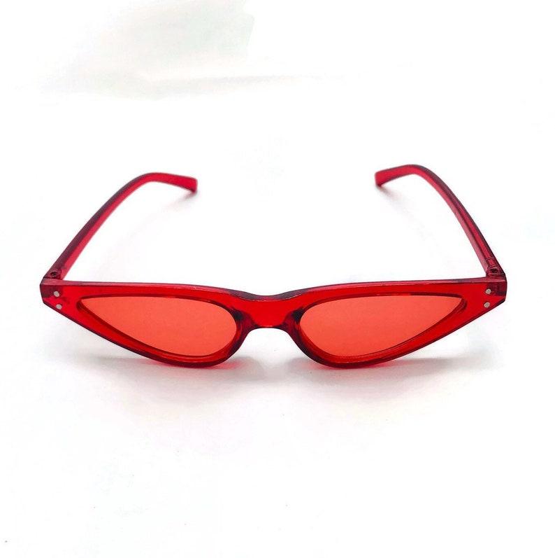 51cd4149d884 90's Narrow Red Tinted Sunglasses Women Cat eye   Etsy