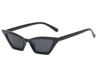 90's sunglasses black slim cat eye retro sunglasses Small square Cat Eye Sunglasses