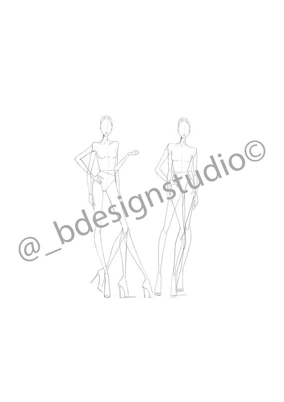 fashion illustration croquis template multi pose etsy