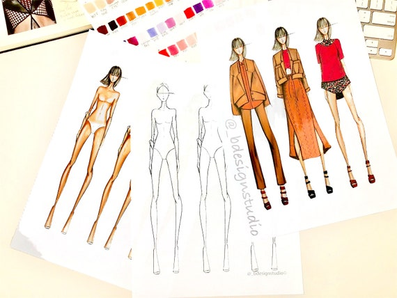 Female Croqui Template Fashion Illustration Front And Back Etsy